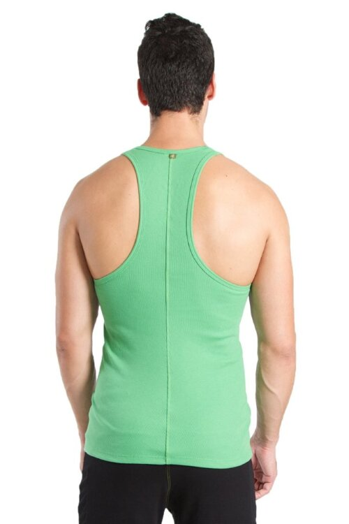 Racer-back Yoga Tank for Men (Bamboo Green) - back view