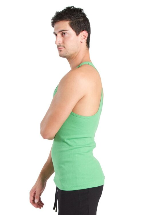 Racer-back Yoga Tank for Men (Bamboo Green) - side view