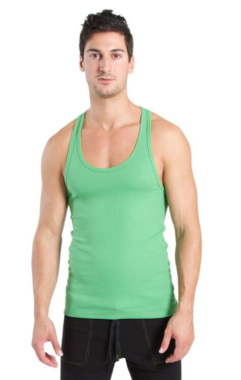 Racer-back Yoga Tank for Men (Bamboo Green) - front view
