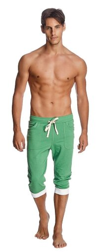 Cuffed Yoga Pants for men (Bamboo Green w/White)