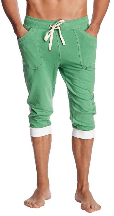 Men's Yoga Capri Pants with Cuffing (Bamboo Green w/White)