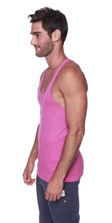 Racer-back Yoga Tank for Men (Berry) - side view