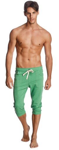 Cuffed Yoga Pants for men (Solid Bamboo Green)