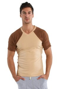 Raglan Virtual Crew Neck (Sand w/Chocolate)