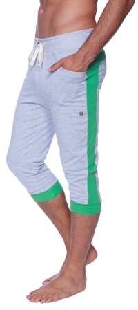 Cuffed Yoga Pants for men (Heather Grey w/GREEN)