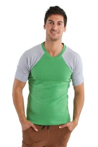Raglan Virtual Crew Neck (Bamboo Green w/Grey)