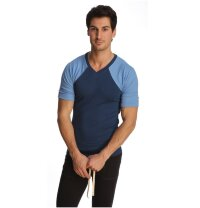Short Sleeve Yoga Tee Virtual Crew Neck (Royal Blue)