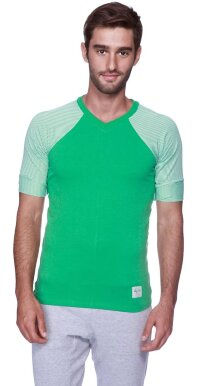 Raglan Virtual Crew Neck (Green w/Green & White Stripe)