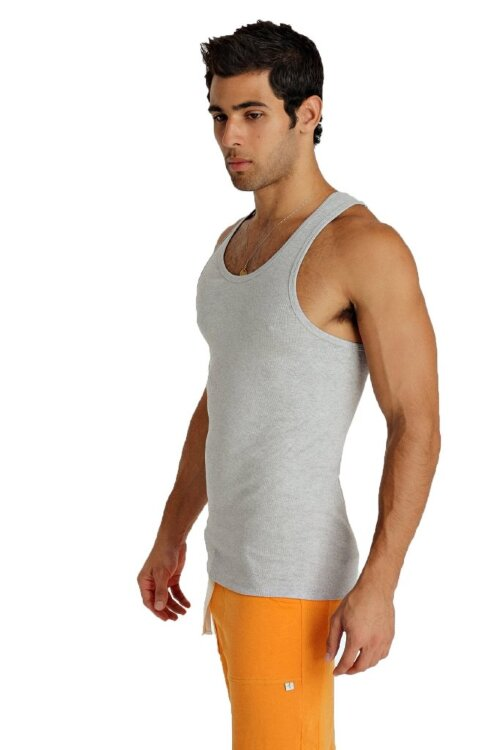 Sustain Tank Top for Yoga (Heather Grey) - side view