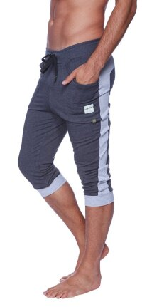 Cuffed Yoga Pants for men (Charcoal w/Heather Grey)