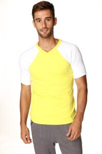 Raglan Virtual Crew Neck (Tropic Yellow w/White)