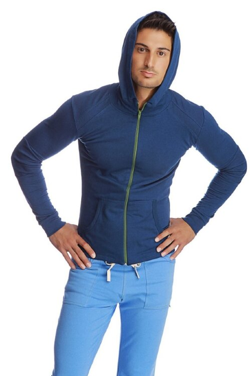 Men's Crossover Hoodie for Yoga & Fitness (Royal)