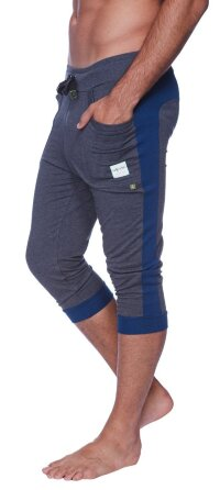 Cuffed Yoga Pants for men (Charcoal w/Royal Blue)