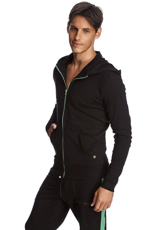 Crossover Hoodie for Yoga (Black w/Green Zipper) - side view