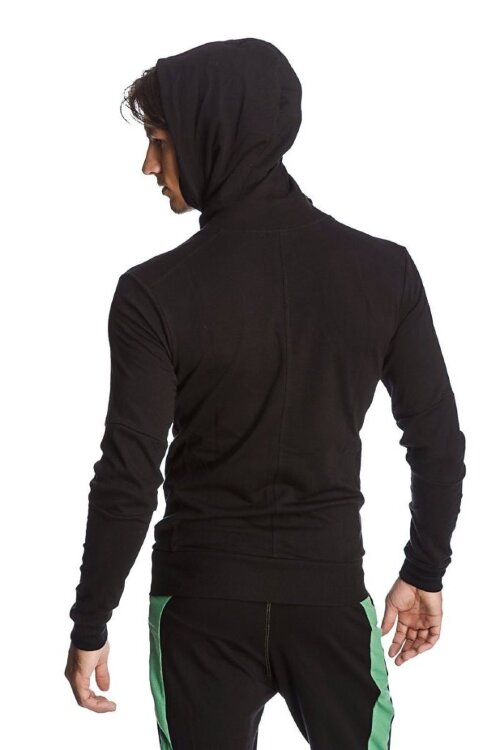 Crossover Hoodie for Yoga (Black w/Green Zipper) - back view