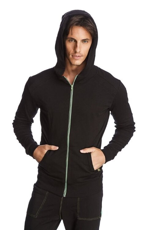 Crossover Hoodie for Yoga (Black w/Green Zipper) - front view