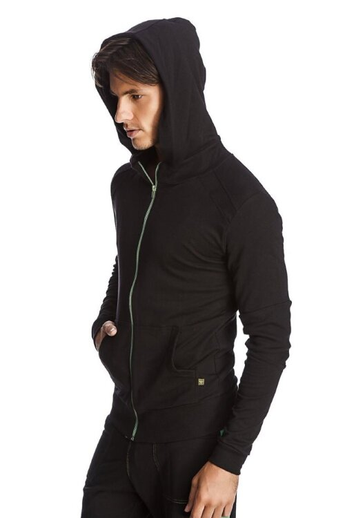 Men's Crossover Transition Yoga Hoodie (Black w/Green Zipper)