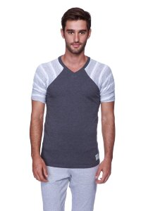 Raglan Virtual Crew Neck (Charcoal w/Grey & White Stripe)