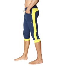 Relaxed Fit Cuffed Yoga Capris for Men (Royal Blue w/Yellow)